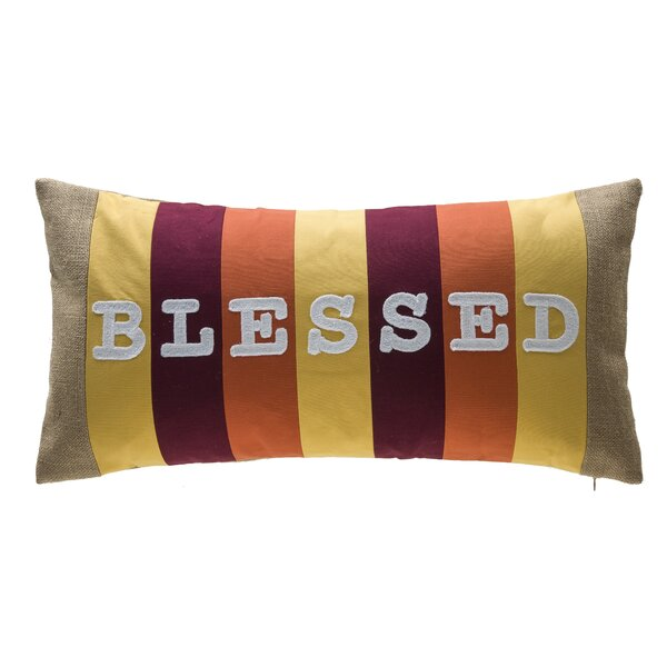 Blessed Stripe Patchwork 100% Cotton Lumbar Pillow by 14 Karat Home Inc.